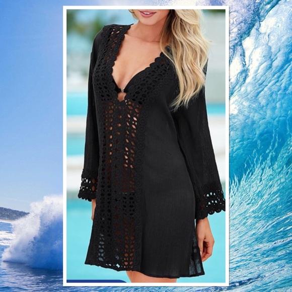 1de7576ca2 VENUS Swim | Black Crinkle Fabric Crochet Cover Up | Poshmark